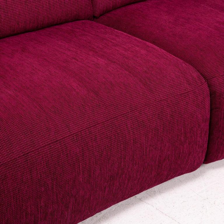 European Mondo Fabric Corner Sofa Electrical Function Purple Berry Relax Function Sofa