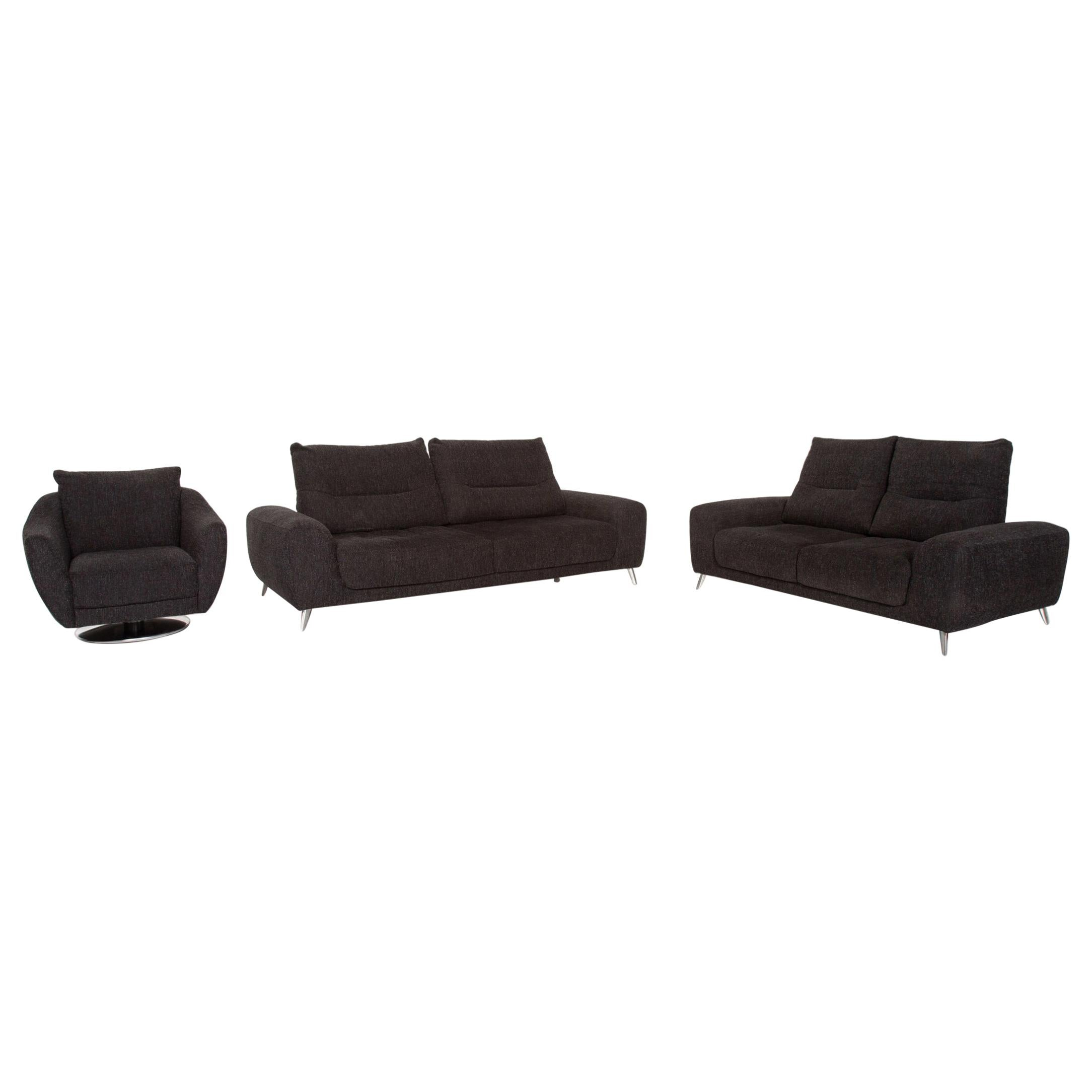 Mondo Fabric Sofa Set Anthracite Gray 1 Four-Seat 1 Two-Seat 1 Armchair