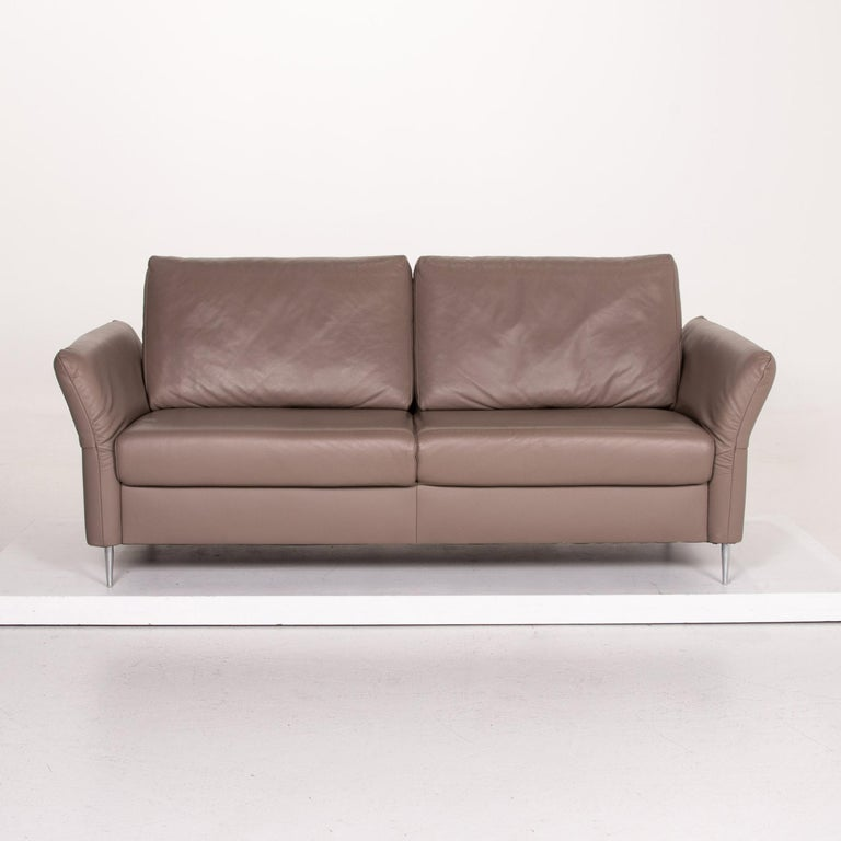 Modern Mondo Leather Sofa Beige Three-Seat Function Couch For Sale