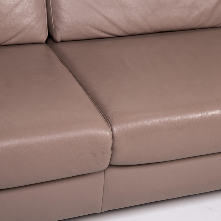 European Mondo Leather Sofa Beige Three-Seat Function Couch For Sale