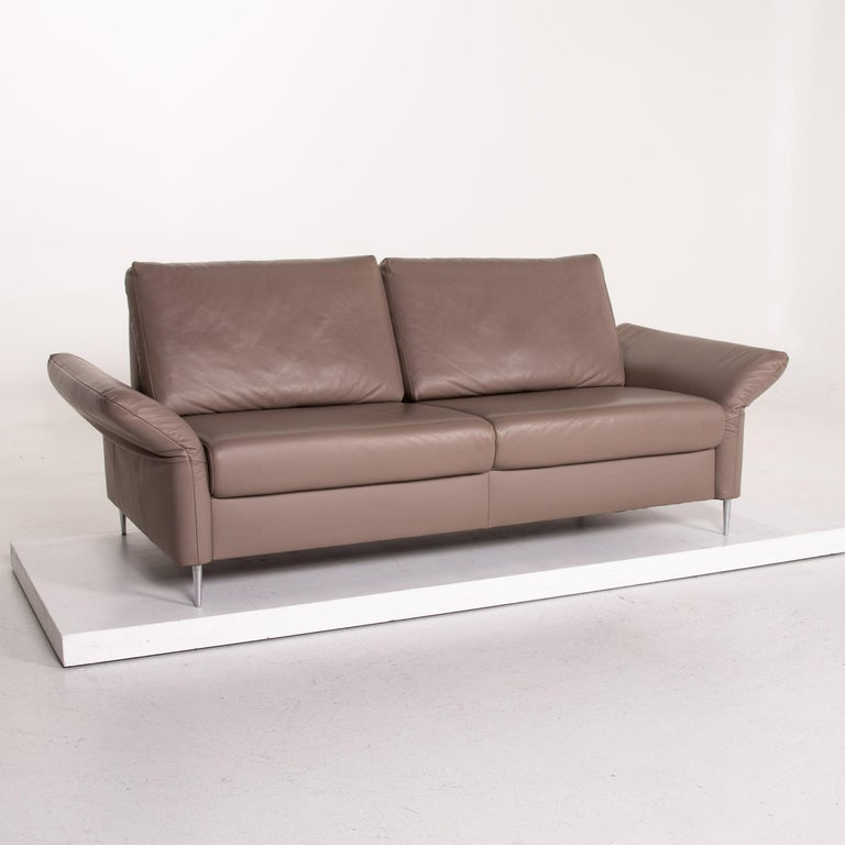 Mondo Leather Sofa Beige Three-Seat Function Couch For Sale 2