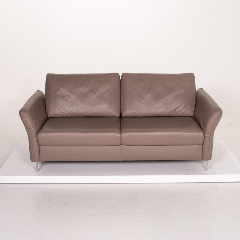 Mondo Leather Sofa Beige Three-Seat Function Couch For Sale 3