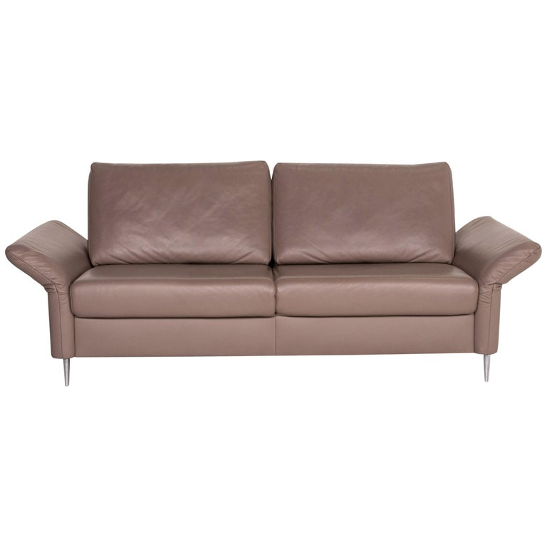 Mondo Leather Sofa Beige Three-Seat Function Couch For Sale
