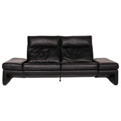 Mondo Leather Sofa Black Three-Seat Electrical Function Relaxation Function