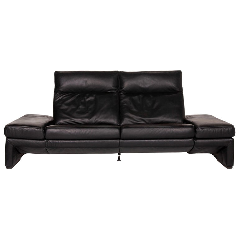 Mondo Leather Sofa Black Three-Seat Electrical Function Relaxation Function For Sale