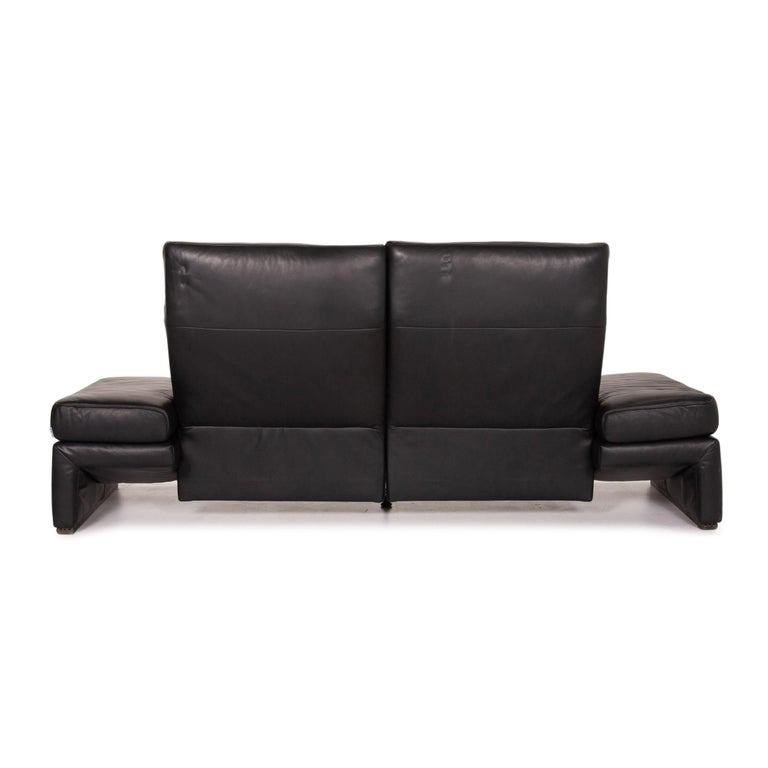 Mondo Leather Sofa Black Three-Seat Electrical Function Relaxation Function For Sale 6