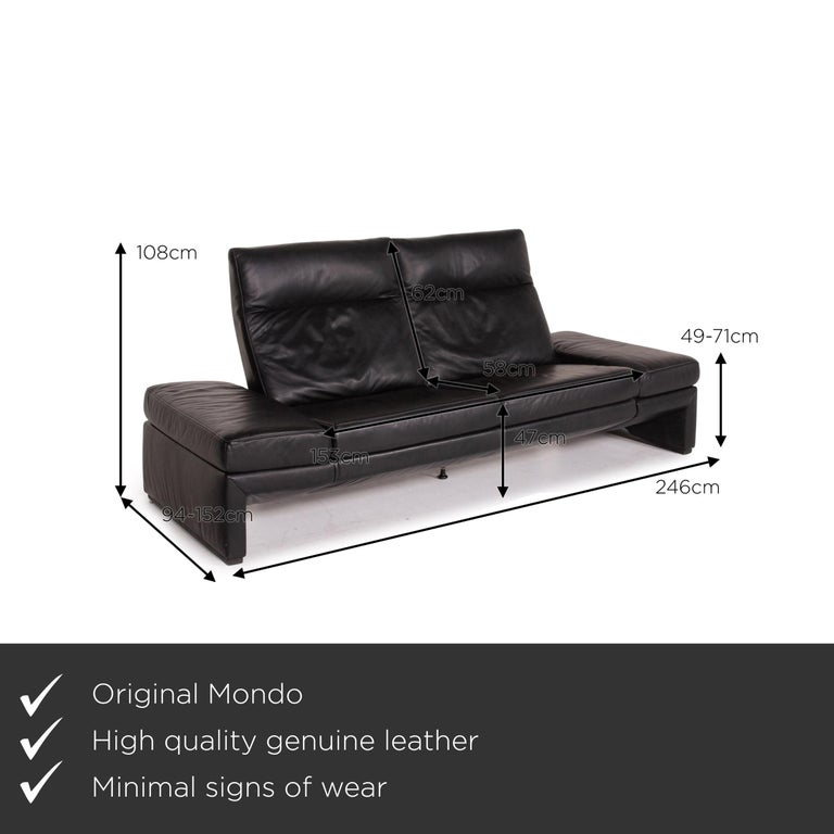 We present to you a Mondo leather sofa black three-seat electrical function relaxation function.    Product measurements in centimeters:    Depth 94 Width 246 Height 105 Seat height 47 Rest height 49 Seat depth 58 Seat width 153 Back