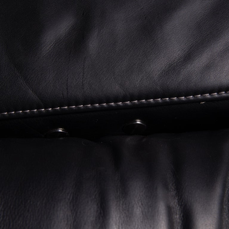 Mondo Leather Sofa Black Three-Seat Electrical Function Relaxation Function In Good Condition For Sale In Cologne, DE