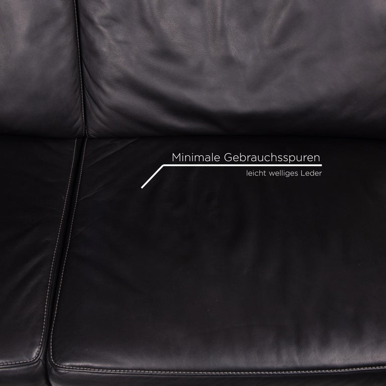 Contemporary Mondo Leather Sofa Black Three-Seat Electrical Function Relaxation Function For Sale
