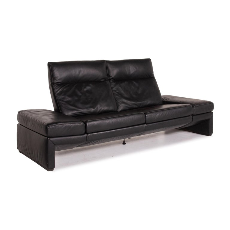 Mondo Leather Sofa Black Three-Seat Electrical Function Relaxation Function For Sale 3