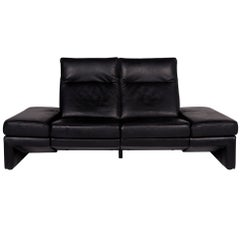 Mondo Leather Sofa Black Two-Seat Function Relax Function Couch