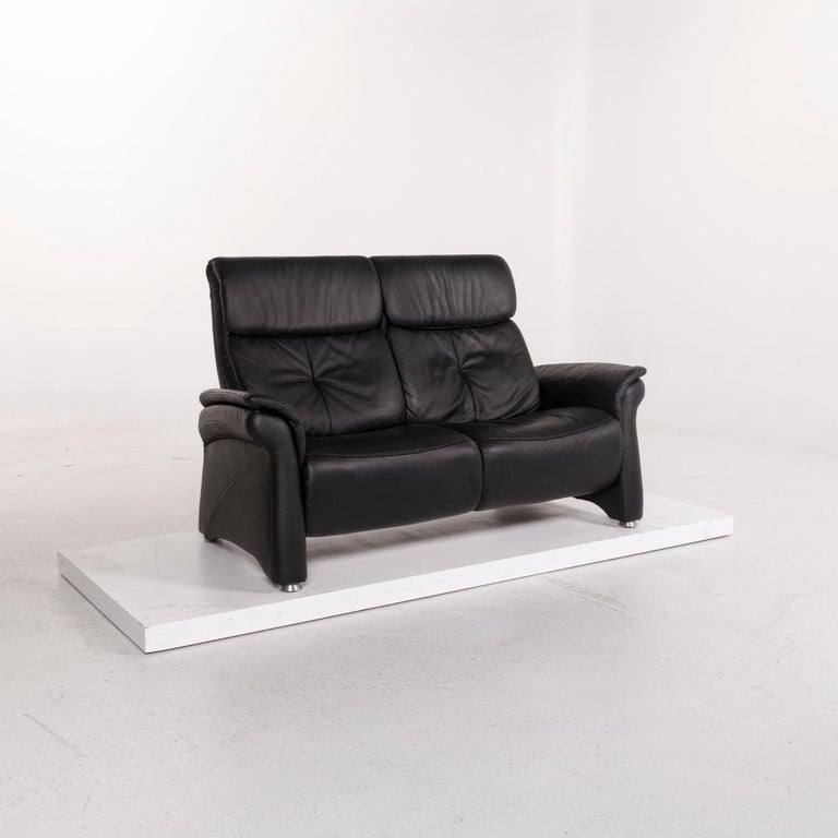 We bring to you a Mondo leather sofa black two-seat couch.      Product measurements in centimeters:    Depth 86 Width 174 Height 107 Seat-height 44 Rest-height 62 Seat-depth 40 Seat-width 134 Back-height 65.