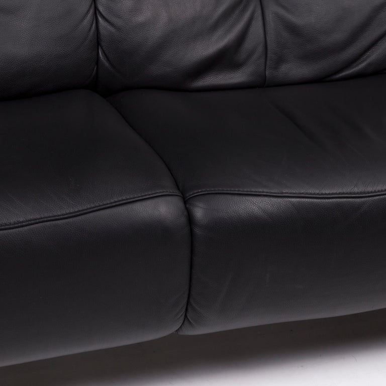 Modern Mondo Leather Sofa Black Two-Seat Couch For Sale