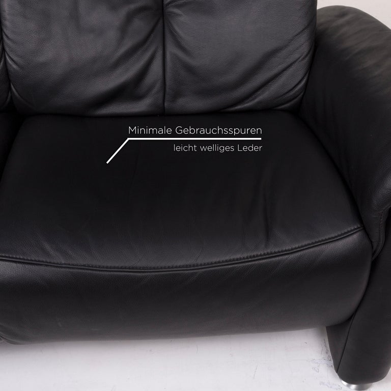 European Mondo Leather Sofa Black Two-Seat Couch For Sale