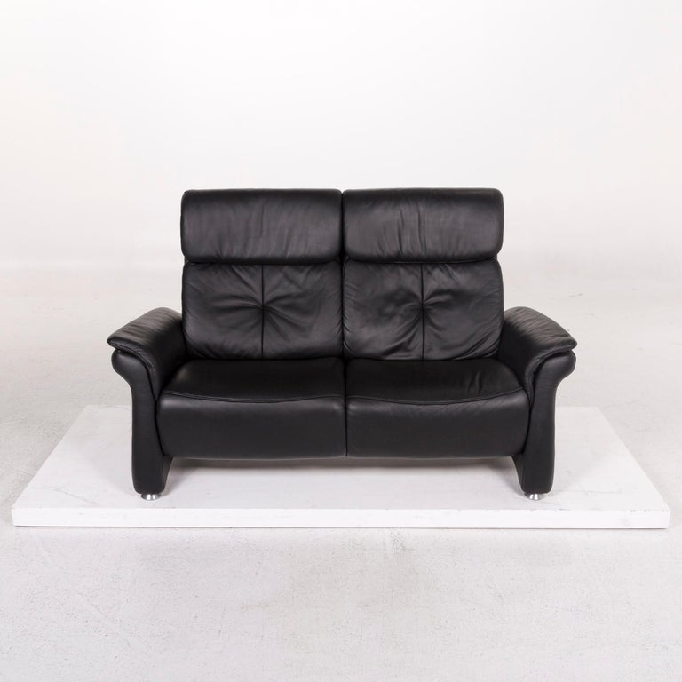 Contemporary Mondo Leather Sofa Black Two-Seat Couch For Sale