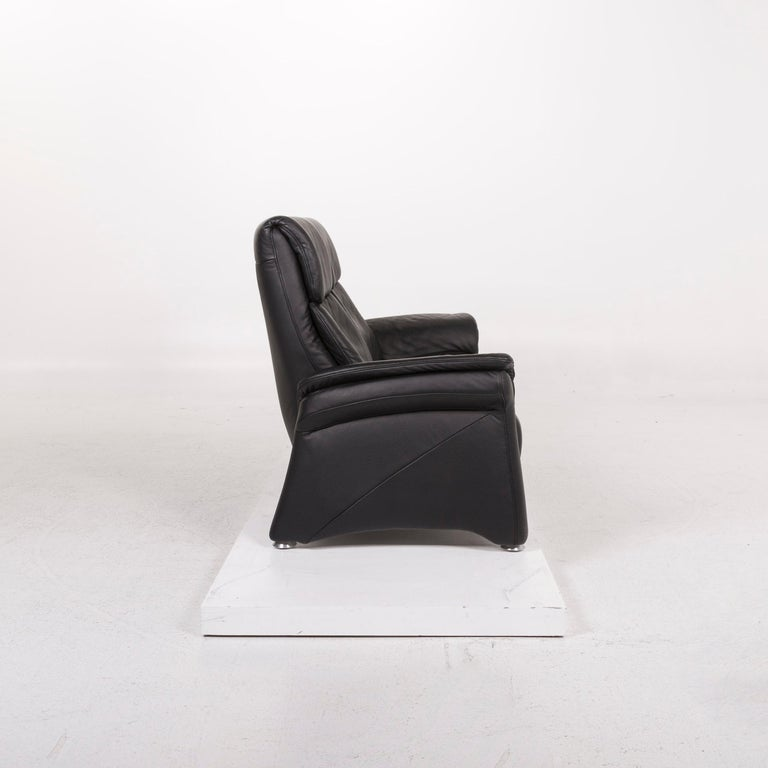 Mondo Leather Sofa Black Two-Seat Couch For Sale 1
