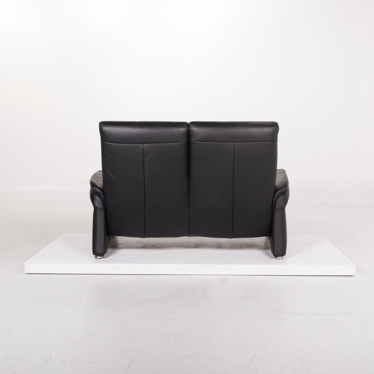 Mondo Leather Sofa Black Two-Seat Couch For Sale 2