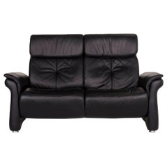 Mondo Leather Sofa Black Two-Seat Couch