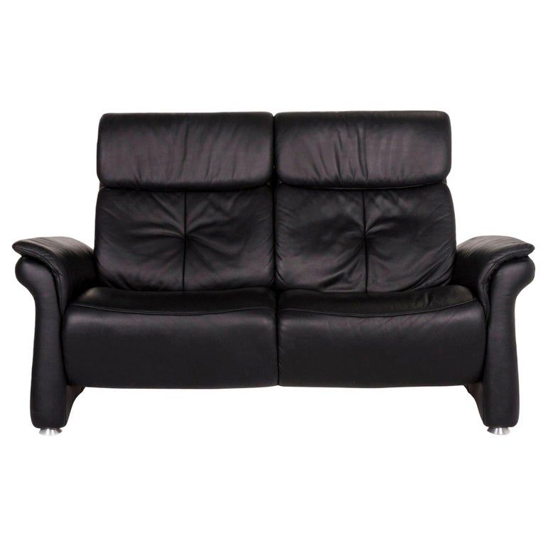 Mondo Leather Sofa Black Two-Seat Couch For Sale