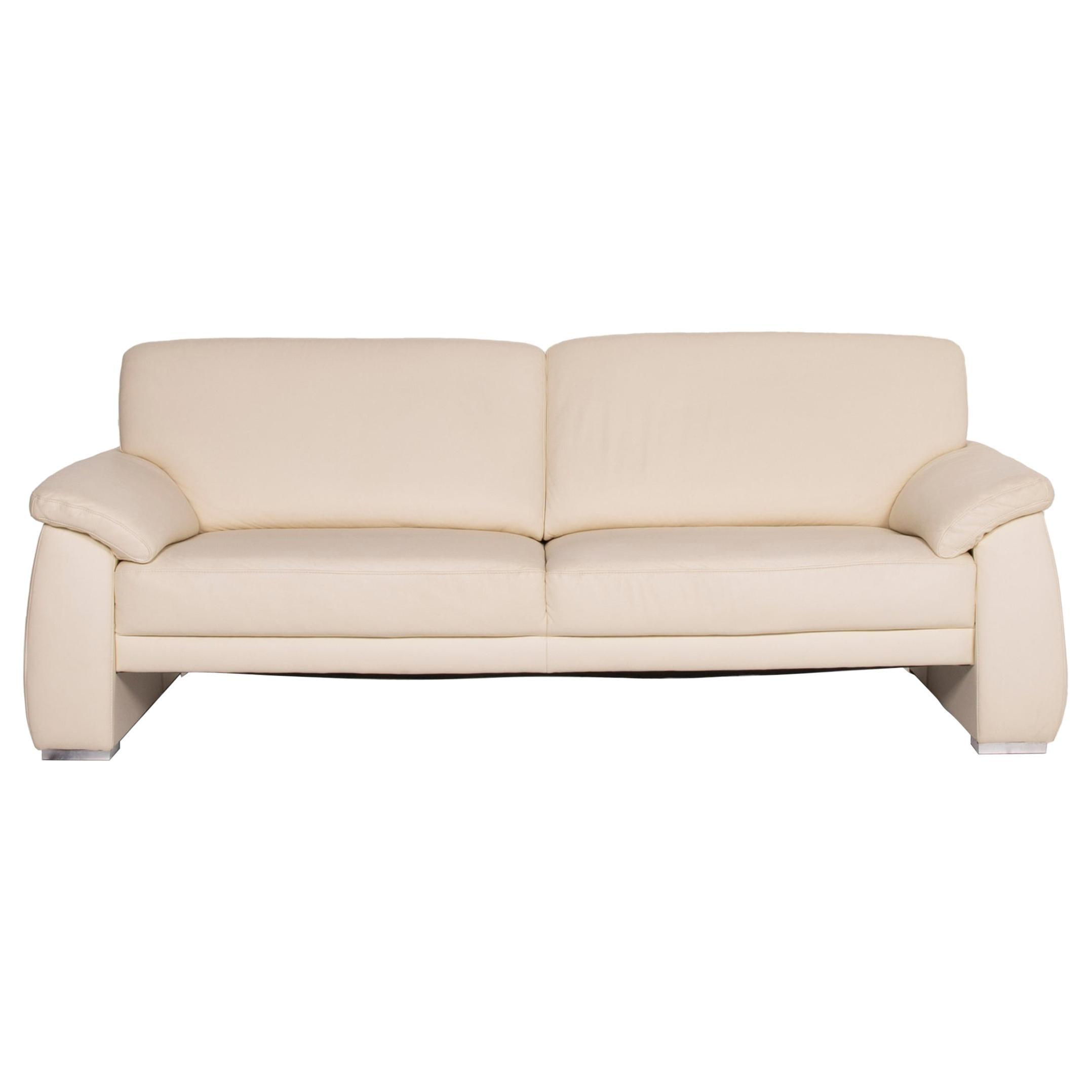 Mondo Leather Sofa Cream Three-Seater