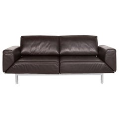 Mondo Leather Sofa Dark Brown Brown Two-Seat Function Couch