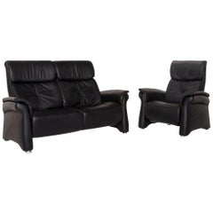 Mondo Leather Sofa Set Black 1 Sofa 1 Armchair Relax Function Function