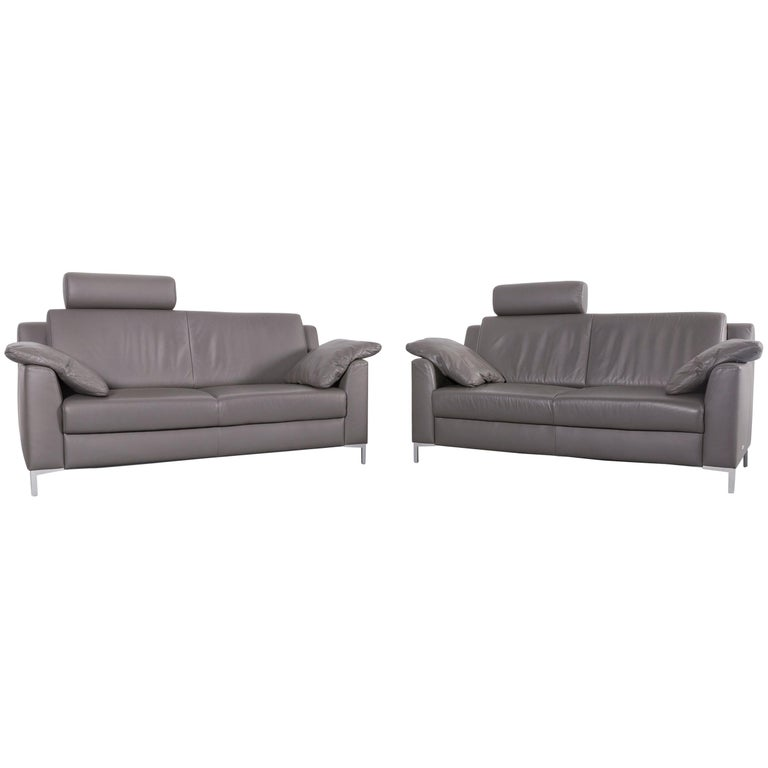Mondo Leather Sofa Set Grey Leather Two-Seat Couch bei 1stdibs