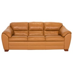 Mondo Leather Sofa Yellow Mustard Yellow Two-Seat Couch