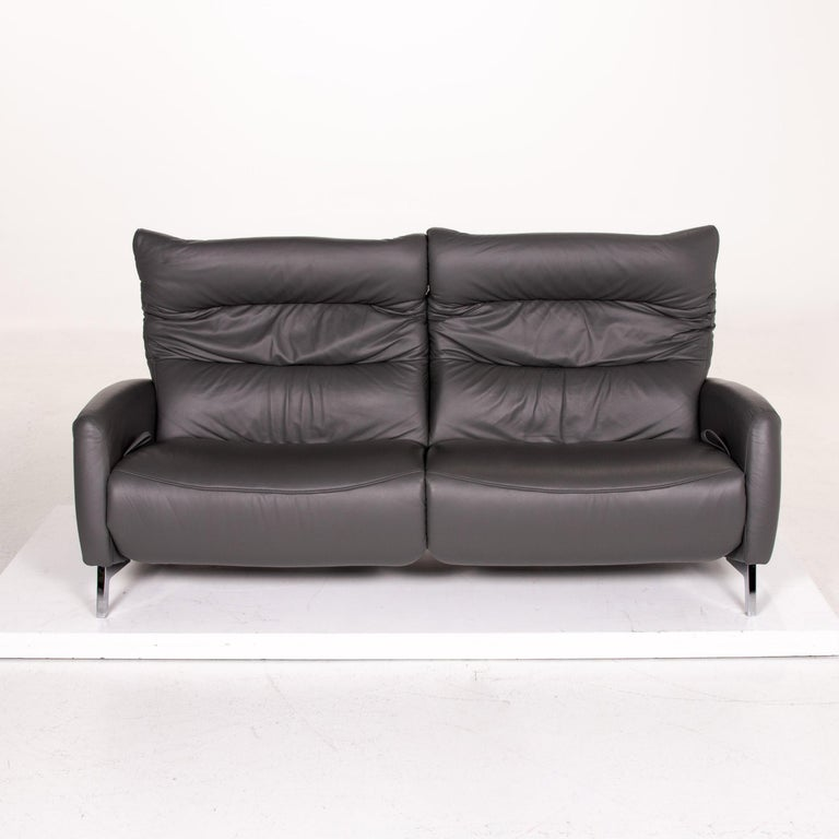 Mondo Recero Leather Sofa Gray Two-Seat Function Relax Function Couch For Sale 8