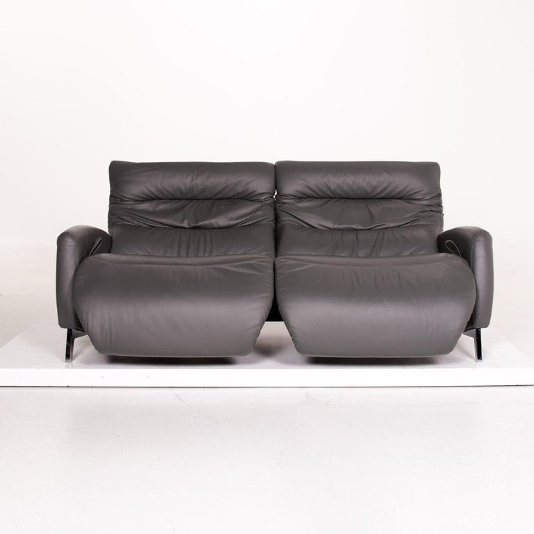Modern Mondo Recero Leather Sofa Gray Two-Seat Function Relax Function Couch For Sale