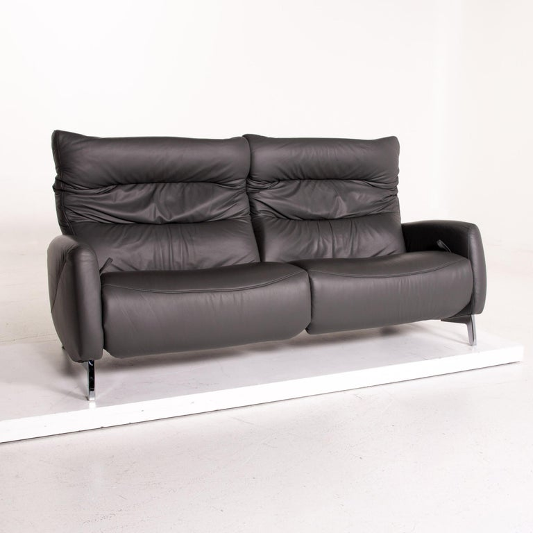 Mondo Recero Leather Sofa Gray Two-Seat Function Relax Function Couch For Sale 1
