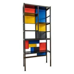 Mondrian Mid-Century Modern Bookcase, Unique Piece