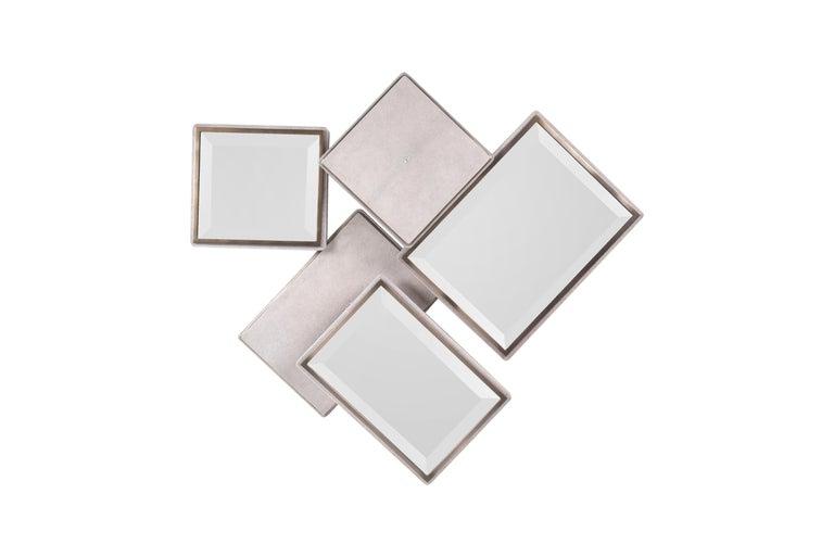 Art Deco Mondrian Mirror Large in Cream Shagreen and Bronze-Patina Brass by Kifu Paris For Sale