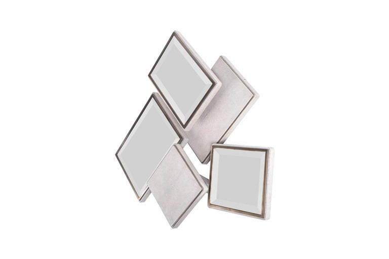 French Mondrian Mirror Large in Cream Shagreen and Bronze-Patina Brass by Kifu Paris For Sale