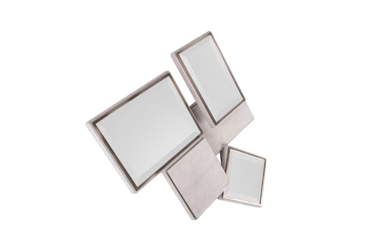Hand-Crafted Mondrian Mirror Large in Cream Shagreen and Bronze-Patina Brass by Kifu Paris For Sale