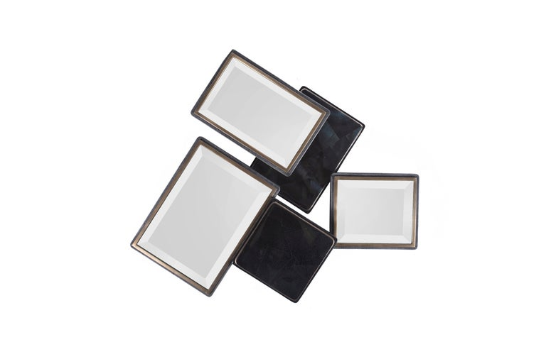 Mondrian Mirror Large in Cream Shagreen and Bronze-Patina Brass by Kifu Paris In New Condition For Sale In New York, NY