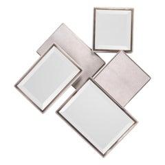 Mondrian Mirror Large in Cream Shagreen and Bronze-Patina Brass by Kifu Paris
