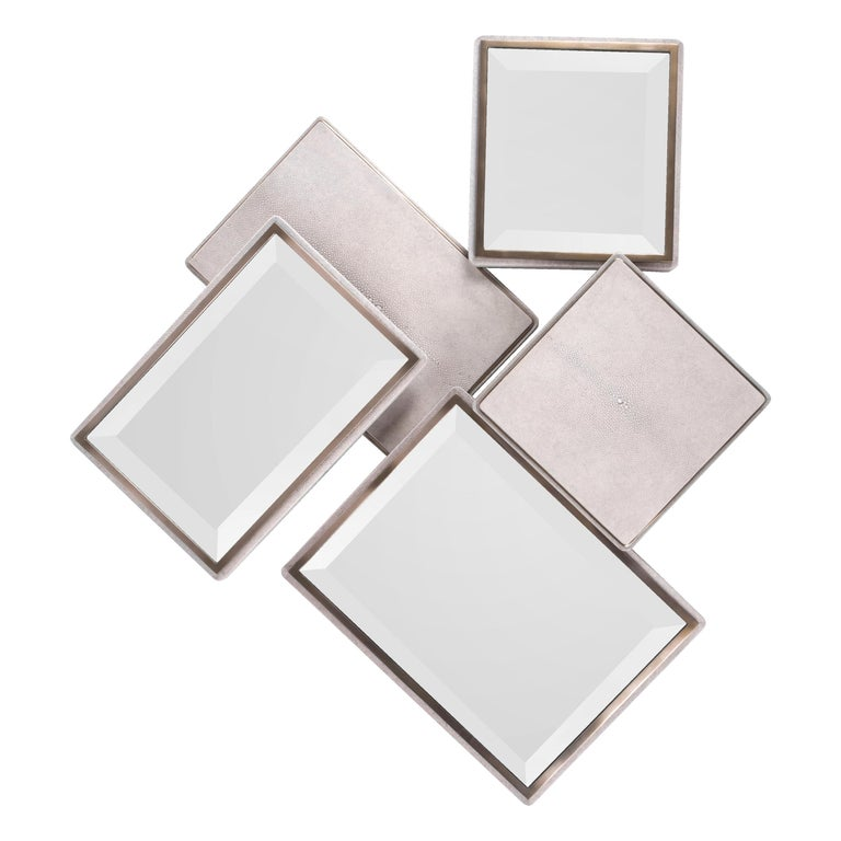 Mondrian Mirror Large in Cream Shagreen and Bronze-Patina Brass by Kifu Paris For Sale