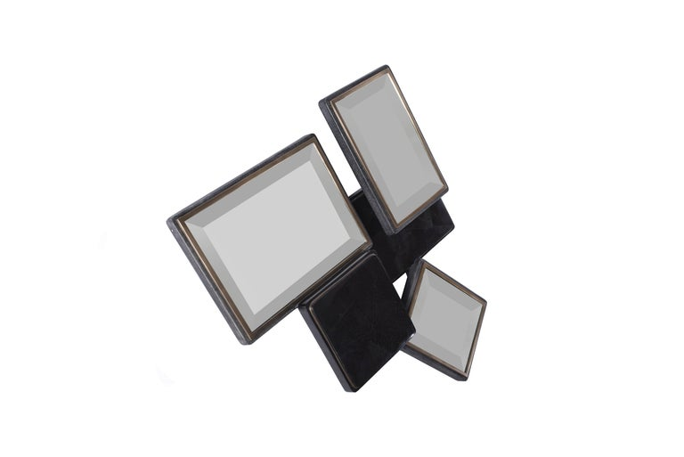 French Mondrian Mirror S in Black Shagreen Shell and Bronze-Patina Brass by Kifu Paris For Sale