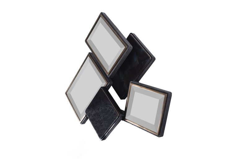 Hand-Crafted Mondrian Mirror S in Black Shagreen Shell and Bronze-Patina Brass by Kifu Paris For Sale