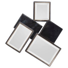 Mondrian Mirror S in Black Shagreen Shell and Bronze-Patina Brass by Kifu Paris