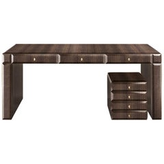 Mondrian Writing Desk in Oak with Brass Gold Finish by Roberto Cavalli