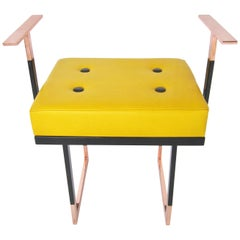 Mondrian Yellow Pouf in Leather with Pink Glossy Brass and Black Iron, Italy