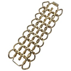 Monet 1950s Wide Gold Chain Link Bracelet