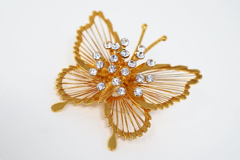 Women's or Men's Monet 1970s Gilded Butterfly Brooch with Crystal Rhinestones, Signed For Sale