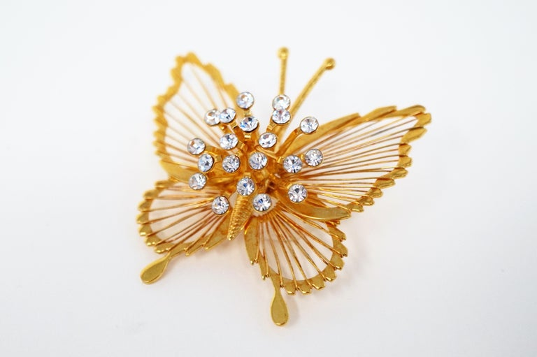Monet 1970s Gilded Butterfly Brooch with Crystal Rhinestones, Signed For Sale 1