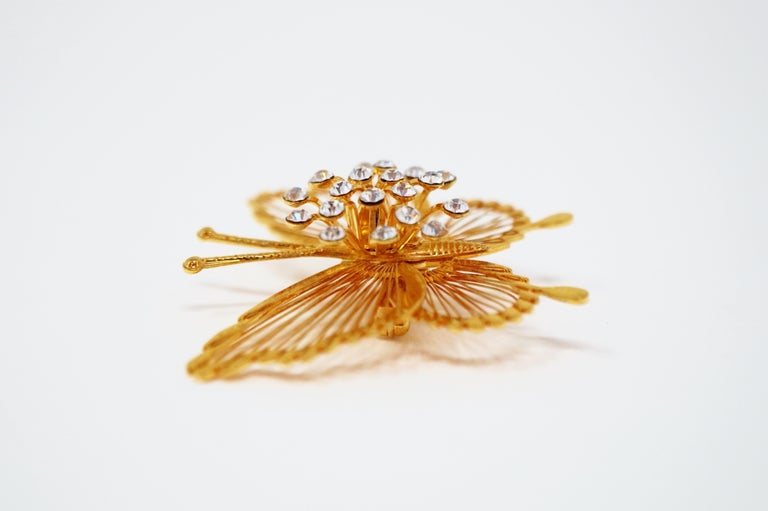 Monet 1970s Gilded Butterfly Brooch with Crystal Rhinestones, Signed For Sale 2