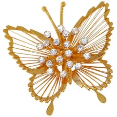 Monet 1970s Gilded Butterfly Brooch with Crystal Rhinestones, Signed