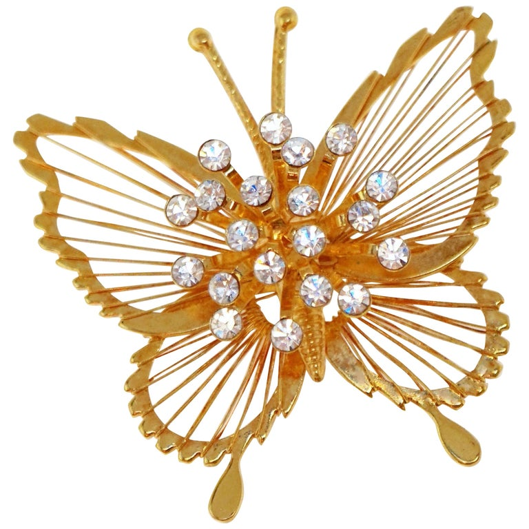 Monet 1970s Gilded Butterfly Brooch with Crystal Rhinestones, Signed For Sale