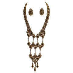 "Monet 1972 ""Palaise"" Gold Bib Necklace and Earrings Set"